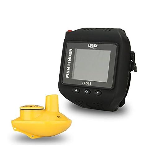 Signstek Détecteur de Poisson Portable Sondeur Pêche Sans Fil, Sonar Electrique avec LED Lumière