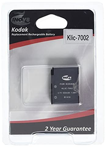 Inov8 Replacement Lithium Digital Camera Battery R-C-B Kodak klic-7002, klic 7002, klic7002, 800mAh 3.7V (Pack of