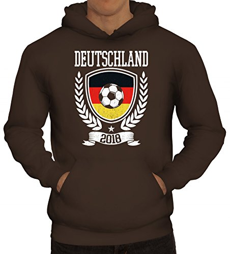 ShirtStreet Germany Fußball WM Fanfest Gruppen Fan Herren Hoodie Männer Kapuzenpullover Pokal Deutschland 2018, Größe: S,braun