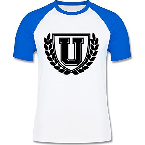 Anfangsbuchstaben - U Collegestyle - zweifarbiges Baseballshirt für Männer Weiß/Royalblau