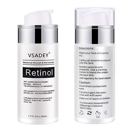 VSADEY Crema Antiarrugas Facial para Día y Noche 2.5% Retinol Crema Hidratante Facial Mujer, Retinol Serum Acido Hialuronico para Mujer y Hombre de ojos Crema con Retinol 50 ml