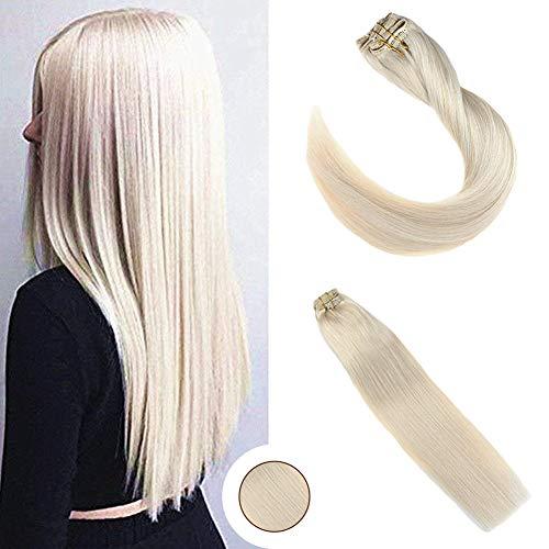 Ugeat 22 Zoll/60cm Remy Echthaar Extensions Clip in Blond #60 120g/Pack 7 Pcs Clip in Tressen Echthaar Haarverlangerung Brasilianisch