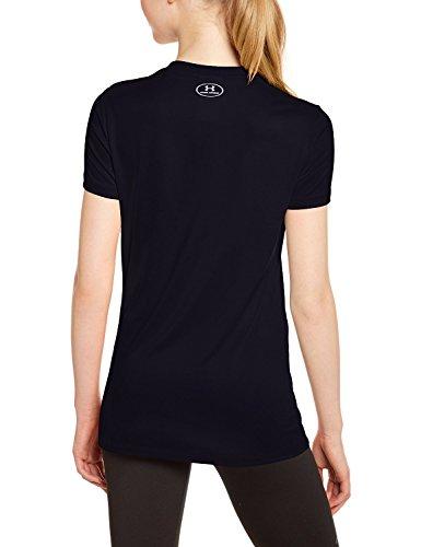 Solid Tech T-shirt (UNDER ARMOUR Damen HeatGear Loose Tech V-Neck Tee 2er Pack Schwarz-Schwarz 002 - S)
