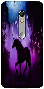 Snoogg Enchanted Unicorn Designer Protective Back Case Cover For Motorola X Play
