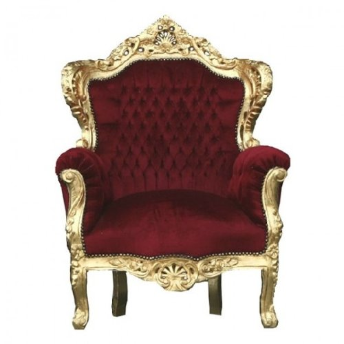 Casa Padrino Barock Sessel 'King' Bordeaux/Gold Thron Stuhl