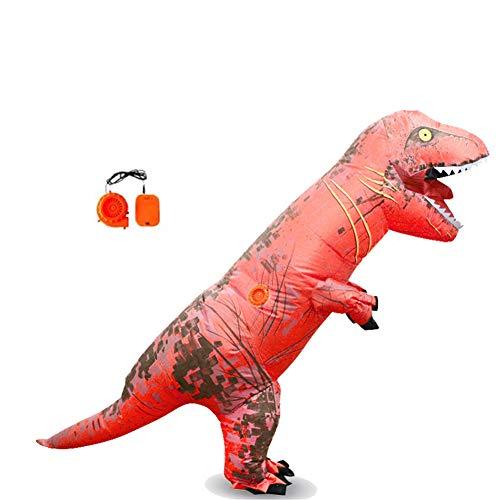 Lvbeis Kind Aufblasbare Dinosaurier Kostüm T-Rex Costume for Halloween Horror Party Outfit Für Größe 150 cm-2 - Rot T Rex Kostüm