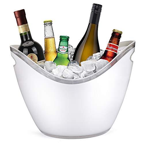 Yobansa 8L Eiseimer Champagner Eimer,EIS Eimer,Acryl große Eiskübel, Küchenobst und Gemüse Vorratsbehälter Behälter(White)