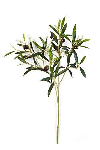 artplants.de Deko Olivenzweig, 105 Blätter, 6 Oliven, grün, 50cm - Künstlicher Olivenzweig - Deko Zweig