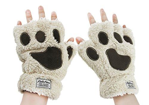 Damen Winter Handschuhe Plüsch Katzenpfoten Fäustlinge Dick halbe Fingerhandschuhe warme Bär Paw Stil Damenhandschuhe für Outdoor
