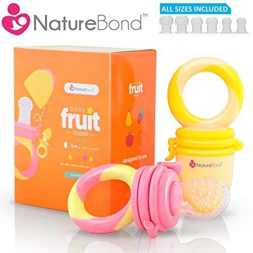 Baby Fruchtsauger/Schnuller - Beißnuckel zur Appetit-Förderung von NatureBond | verschiedene Größen, Silikon (Sunshine Orange and Lemonade Yellow)