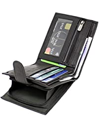 RAS Men's RFID Blocking Soft Smooth Genuine Leather Wallet with A Side Zipped Coin Purse - 42