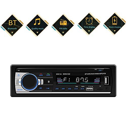 Bluetooth Autoradio mit Fernbedienung, MP3 Player, AUX Dual USB TF Karte unterstützt, FM Radio Stereo für Auto und PKW DIN Anschluss, Dual USB Anschlüsse für Musikspielen und Aufladung