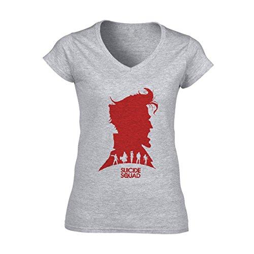 Suicide Squad Red White Art Head Big Head Edition Damen V-Neck T-Shirt Grau
