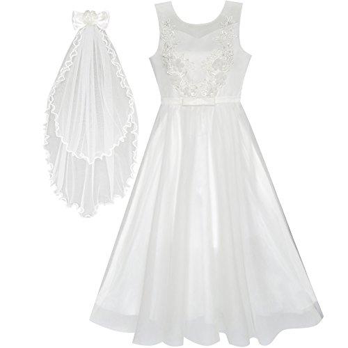 Kleid Schleier (Mädchen Kleid Blume Aus Weiß Hochzeit Schleier Zuerst Gemeinschaft Gr. 146)