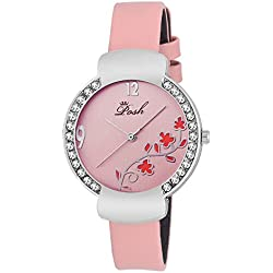 Posh Crystal Studded Dial Faux Leather Band Water Resistant Women's Wrist Watch