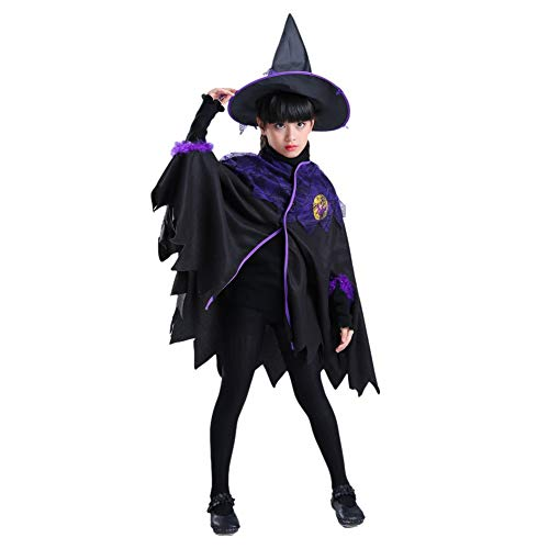 Qlan Kids Girls Halloween Kostüme Hexe Zauberer Umhang Cape mit Hut (Kinder Hexe Kostüm Party Stadt)