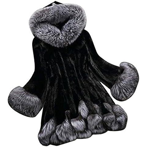 MEXI Moda mujer abrigo para el invierno casual sintético de pieles ropa con capucha Outwear Negro Blanco