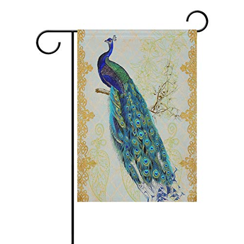 ASKYE Art Peacock Feather Tail Polyester Garden Yard Flag Twin Sides, Tropical Bird Leaves Flowers Decorative Flag Banner for Outdoor Home Decor Party(Size: 28inch W X 40inch H) -
