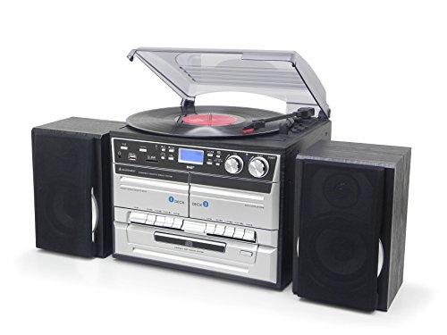 Soundmaster MCD5500SW DAB und UKW Radio Plattenspieler (33,45,78 UpM) CD-MP3 Doppelkassette USB Encoding von Schallplatten CDs oder Kassetten auf USB