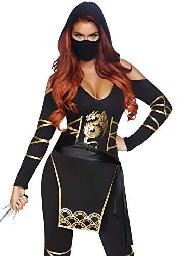 Leg Ninja Kostüm Avenue - Leg Avenue 85629 3 teilig Set Stealth Ninja, Damen Karneval Kostüm Fasching, M, schwarz/gold