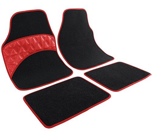 WOLTU AM7165 Auto Fußmatten Autoteppich Universal Riffelblech mit Kunstleder, Schwarz Rot