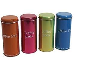 Pad lot de 4 boîtes métalliques assorties et pad station padheber organiseur-pad support pour votre station de porte-dosettes senseo -espresso-hot choco-senseo new generation/latte avec égouttoir