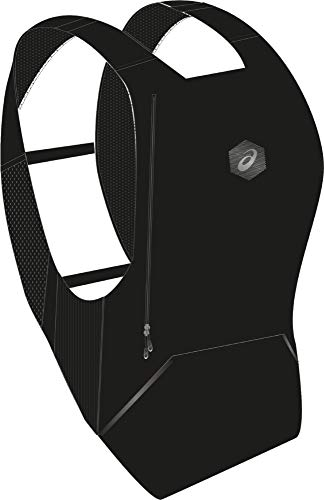 Asics Rucksack (ASICS Running Black Polyester Rucksack Uniform, Unisex, Gesäßtasche, Fronttasche, Seitentasche, 350 mm)