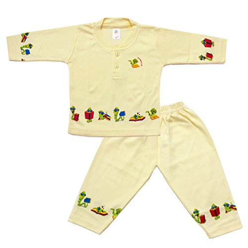 Henry Collar Design Snack Printed Full Sleeves T-Shirt With Full Pant(Yellow)  available at amazon for Rs.380