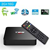 Android TV BOX, T95 S2 TV BOX 2GB RAM/16GB ROM Android 7.1 Amlogic S905W Quad Core Supporto 2.4Ghz WiFi H.265 4K HDMI DLNA Mini TV BOX