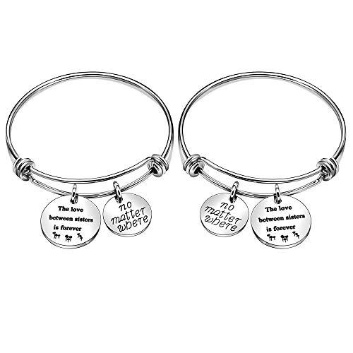 2 braccialetti con scritta in inglese 'The Love Between Sisters is Forever', regalo di Natale per sorelle, amiche, donne (334)