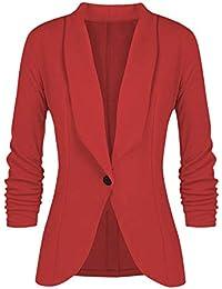 9fda671136411 Minetom Donna Manica a 3 4 Colletto Cappotto Elegante Bottoni Ufficio  Business Blazer Top Gilet