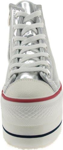 Maxstar CN9 7 trous-Double fermeture éclair en forme de chaussure Sneaker Argent - TC-Silver