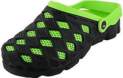 Lee Big Mens Black & Green Polyester Clogs - 8 UK