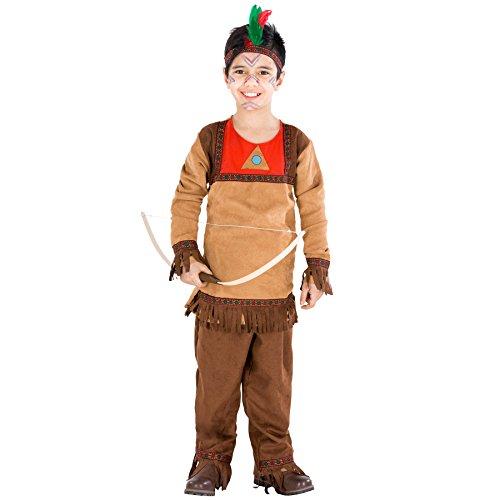 Jungenkostüm Indianer | Western Kostüm inkl. Haarband mit Federn (5-7 Jahre | Nr. (Mit Baby Kostüm Aliens)