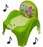 Topf de Toilette Musical für Baby Kinder Sessel Stuhl Farbe Grün mit Tiermotiv Safar