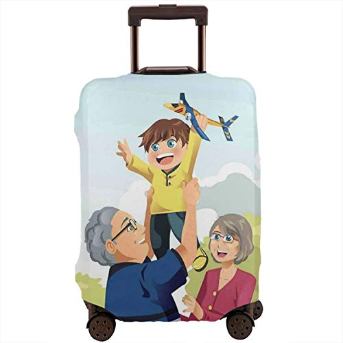 Travel Luggage Cover,Happy Boy Playing with Grandparents at The Park Childhood Memories Love Cartoon Suitcase Protector