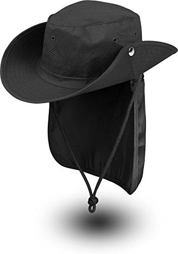 normani Buschhut Outdoor Schlapphut Outback mit abnehmbarem Nackenschutz Farbe Schwarz Größe S/55
