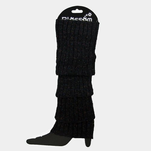 Leg Warmers Glitter Sweater Knit Stretchy Legs Over Boots Slip on Slouchy Warm (Black) by Blossom (Boot Knit)
