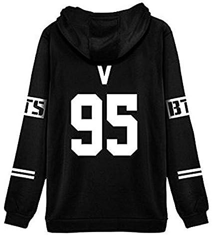 ShallGood Femme Automne Mode BTS Fans Sweats à Capuche à Manches Longues Varsity Rayé Encapuchonné Sweatshirt Décontractée Hooded Chemisiers Tops V-95 Blanc FR 42
