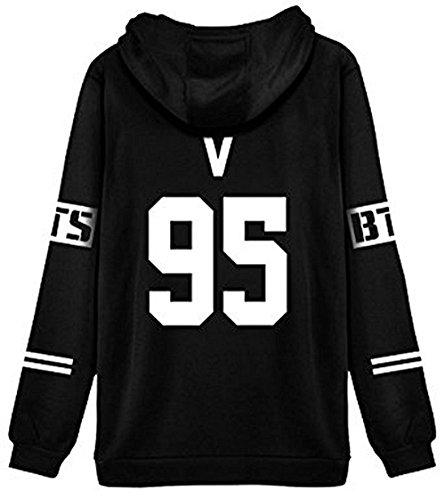 ShallGood Femme Automne Mode BTS Fans Sweats à Capuche à Manches Longues Varsity Rayé Encapuchonné Sweatshirt Décontractée Hooded Chemisiers Tops V-95 Blanc FR 34