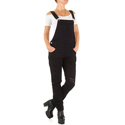 Damen Jeans Hose Jeanshose Destroyed Latzjeans Latzhose Hose mit Träger Overall Schwarz 36