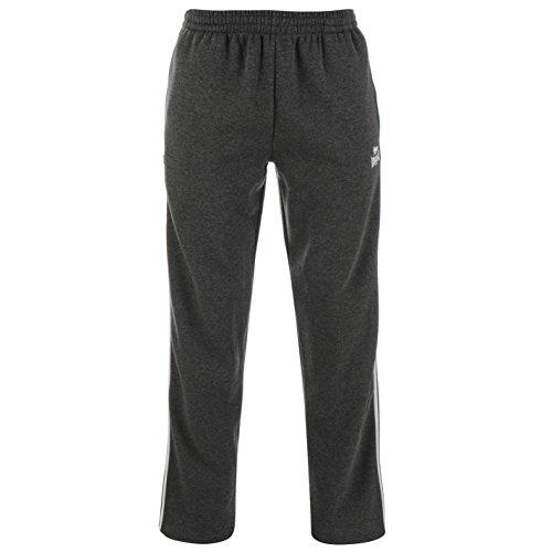 Lonsdale Uomo 2 Banda da Open Hem Pantaloni da Jogging CharcoalM/Bianco