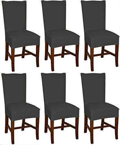 Bellboni - Fodera per sedia, coprisedia elasticizzato, coprisedia, antracite, pacco da sei