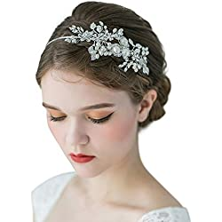 SWEETV Mariage Bandeaux Cheveux Diadème Fête Soirée Accessoires de Coiffure avec Cristal Perle Headbands pour Femmes