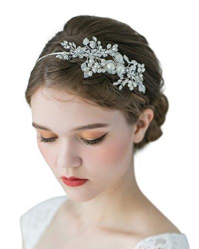 SWEETV Braut Haarband Silber Haarreifen Hochzeit Stirnbänder mit Transparent Kristall, Wulst und Perle
