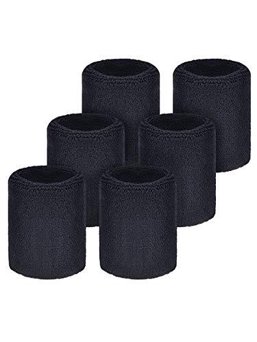 FABSELLER Sport-Armbänder aus Baumwolle, Schweißband, elastisch, für Fitness, Tennis, Squash, Badminton, Gymnastik, Yoga, Fußball, Schwarz, 6 Stück