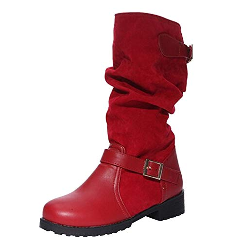 UFACE Damen Damen Extra Breite Schnalle-Strap Schuhe Casual Mittlere Ferse Flach Mit Stiefeln