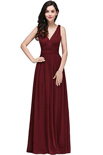 Damen Elegant Rückenfrei Chiffon Abendkleid Hochzeitskeid Festkleid Bodenlang Weinrot 46