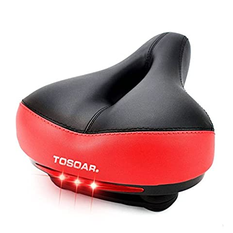 Comfortable Wide Bike Seat by TOSOAR® Memory Foam Padded Dual Spring Designed Soft Breathable Bicycle Saddle Cushion with Waterproof Safety Taillight (red)