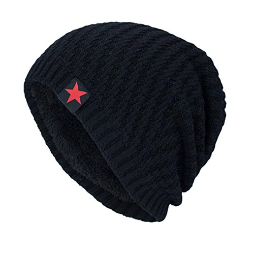 Fossen Unisex Gorra de Punto Invierno Templado Tejer Lana Sombrero para Hombre Mujer (Negro)